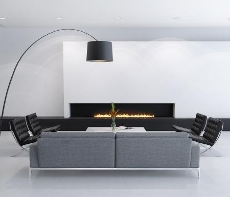 chemin�e gaz: Minimal int�rieur contemporain foyer au gaz, salle de s�jour Banque d'images