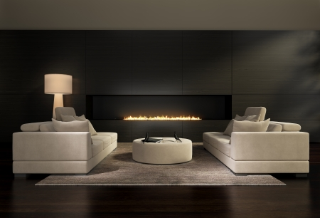 Dark contemporary interior, a living room with a flat gas fireplace photo