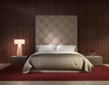 最小現代化的臥室,豪華內飾 版權商用圖片