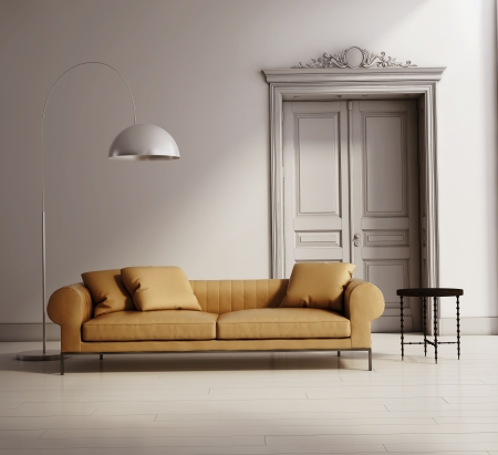 Contemporary classic living room, beige leather sofa, wood floor