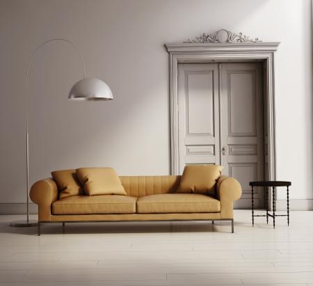Eigentijds klassiek salon, beige lederen bank, houten vloer Stockfoto