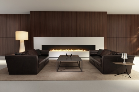 gas fireplace: Contemporary interior, a living room with a flat gas fireplace Stock Photo