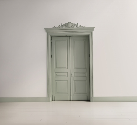 Tuscan interior with a green classical door and a white floor