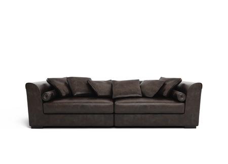 brown leather sofa: Isolato elegante divano in pelle marrone scuro contemporanea Archivio Fotografico
