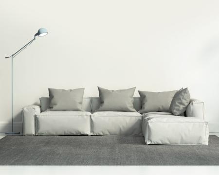 現代的白色客廳的沙發和灰色地毯
