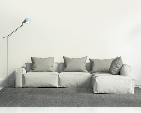 Contemporary white living room with sofa and grey rug Stock Photo - 24547390