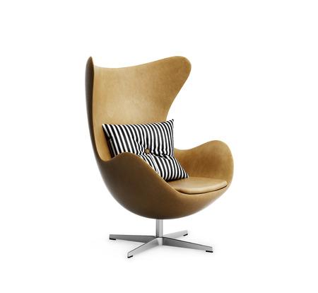 孤立的經典煙草皮革扶手椅搭配條紋枕頭