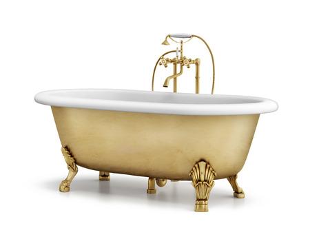 Isolated gold bronze classic bathtub on white