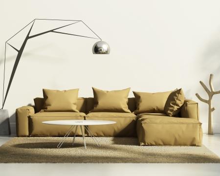在經典的白色風格的室內煙草沙發