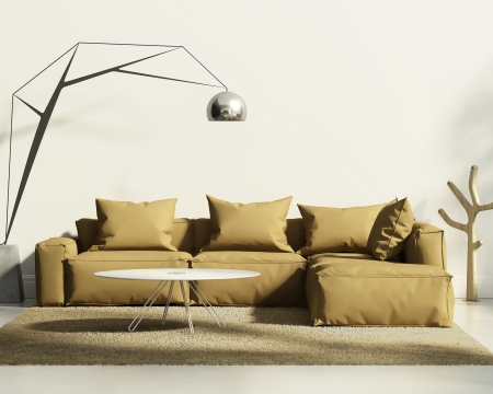 Tobacco sofa in classic white style interior photo