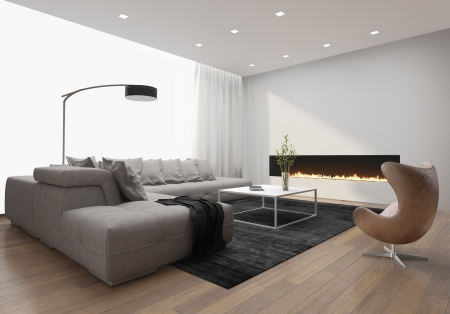 Contemporary stylish loft interior, with modern fireplace photo