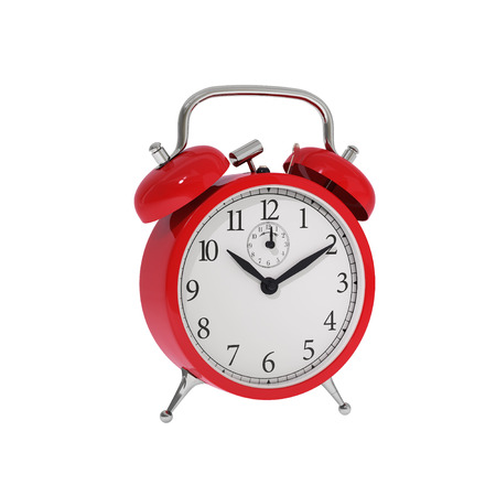 Isolated vintage red classic alarm clock Stock Photo