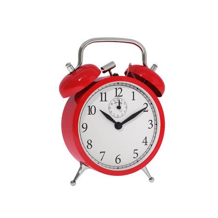 wakening: Isolated vintage red classic alarm clock Stock Photo