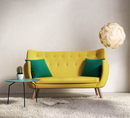 Yellow fresh sofa style, romantic interior living room photo