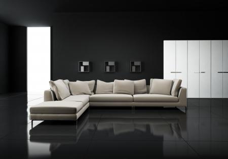 Minimal contemporary elegant living room Stock Photo - 25036005
