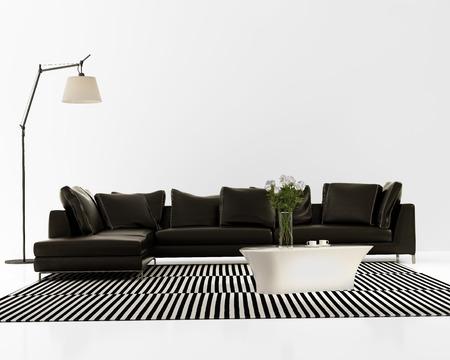 現代的簡約的黑色真皮沙發與地毯條紋