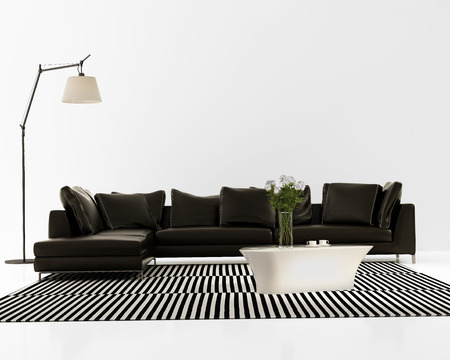 Contemporary minimal black leather sofa with striped rug