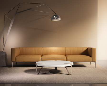 Contemporary minimal tobacco leather sofa with rug