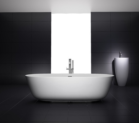 jacuzzi: Minimal black white bathroom with bathtub  Stock Photo