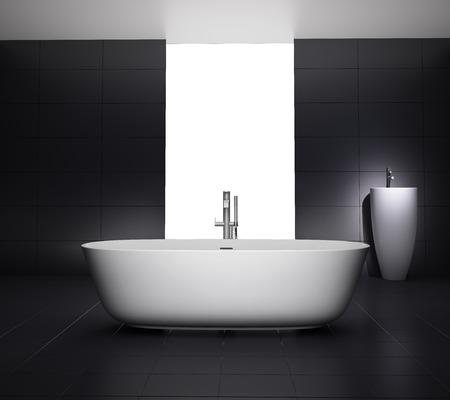 Minimal black white bathroom with bathtub  Stock Photo