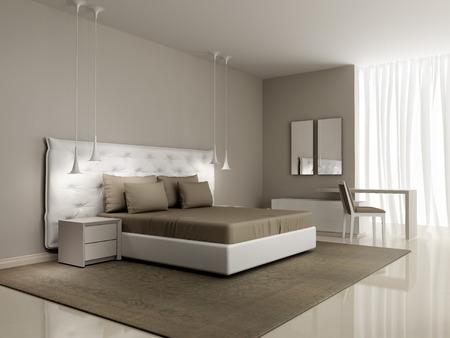 Luxury white bedroom with buttoned bed