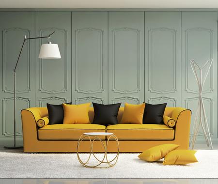 wood molding: Luxury light green living room