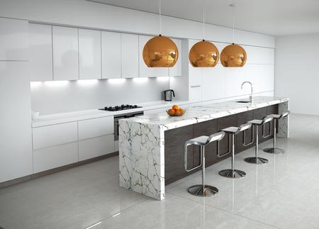 現代的簡約的白色廚房,大理石和木材細節 版權商用圖片