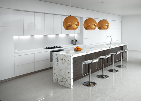 contemporary kitchen: Contemporary minimal white kitchen with marble and wood details Stock Photo