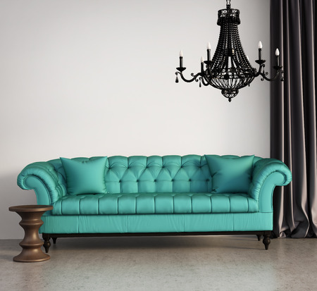 green couch: Vintage classic elegant living room with green sofa and chandelier Stock Photo