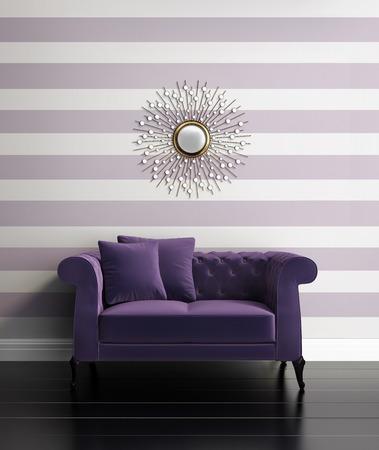 보라색 줄무늬가있는 현대적인 고급 복도