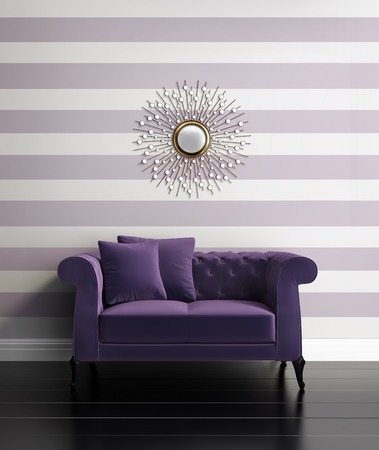 designer chair: Contemporary luxury hallway with purple stripes Stock Photo