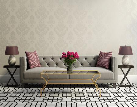 Vinobraní klasické elegantní obývací pokoj s šedou sametovou pohovkou