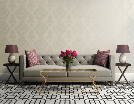 table decorations: Vintage classic elegant living room with grey velvet sofa Stock Photo