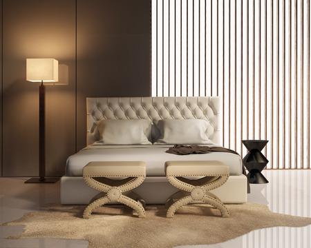 當代優雅的豪華臥室,凳子和皮床