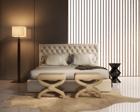 Contemporary elegant luxury bedroom with stools and leather bed