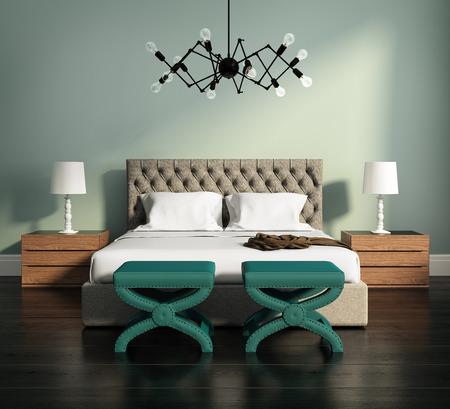當代優雅的綠色豪華臥室,凳子和皮床