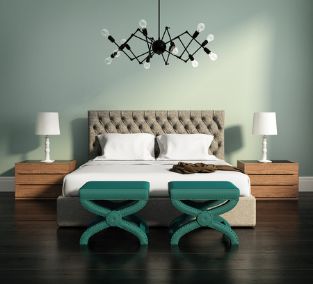 Contemporary elegant green luxury bedroom with stools and leather bed