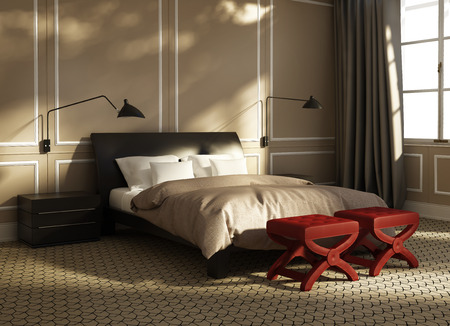 Contemporary elegant green luxury bedroom with red stools and leather bed photo
