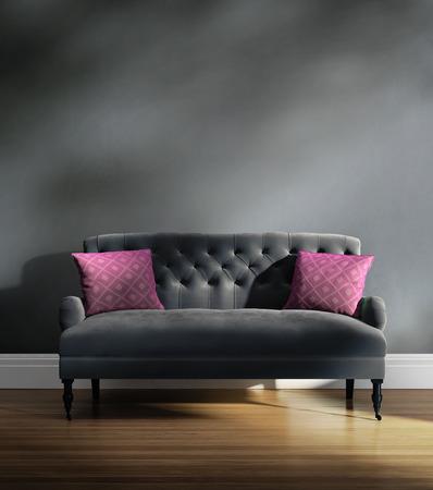silla de madera: Elegante sof� de terciopelo gris de lujo contempor�neo con cojines de color rosa