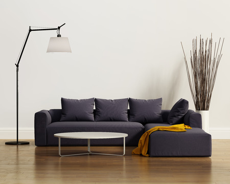 現代的でエレガントな贅沢な紫ソファ クッション付き 写真素材