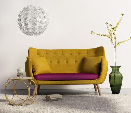 新鮮なインテリアのリビング ルームで黄色いソファー