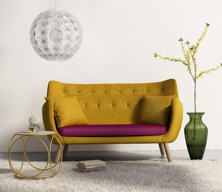 Canapé jaune frais salon intérieur Banque d'images - 27744505