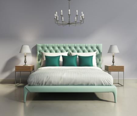 Light green elegant modern bedrooom interior