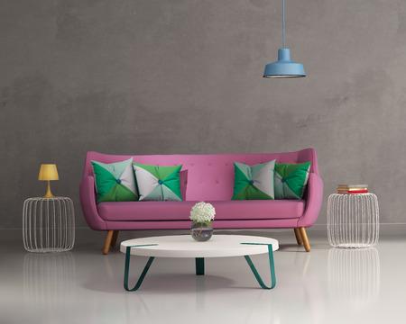 粉紅色的優雅現代的沙發內部