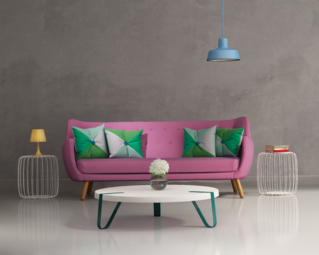 Pink elegant modern sofa interior photo