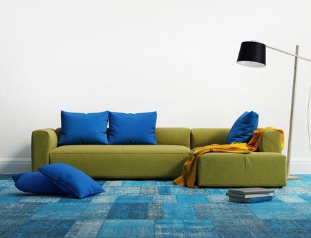 石灰優雅的現代沙發內飾 版權商用圖片