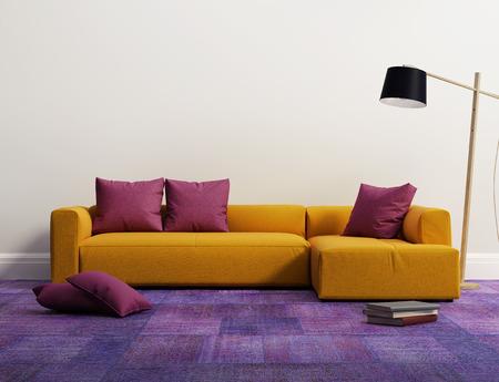 Yellow elegant modern sofa interior