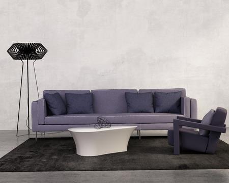 紫のソファーの現代的なリビング ルーム 写真素材