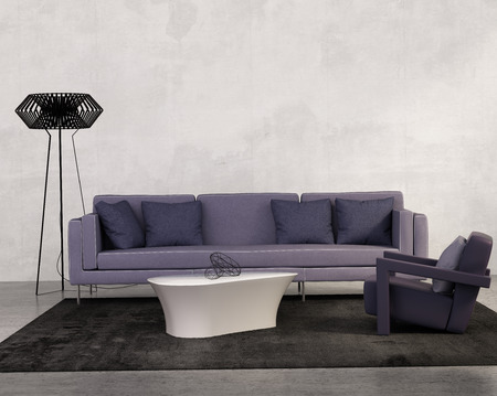 Contemporary living room with purple sofa
