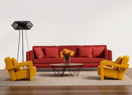 Contemporary living room with red sofa